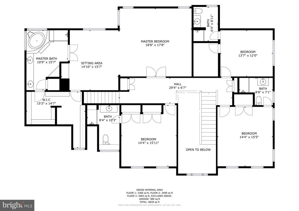 Upper level 2D floor plan 27 Meridan - 27 MERIDAN LN, STAFFORD