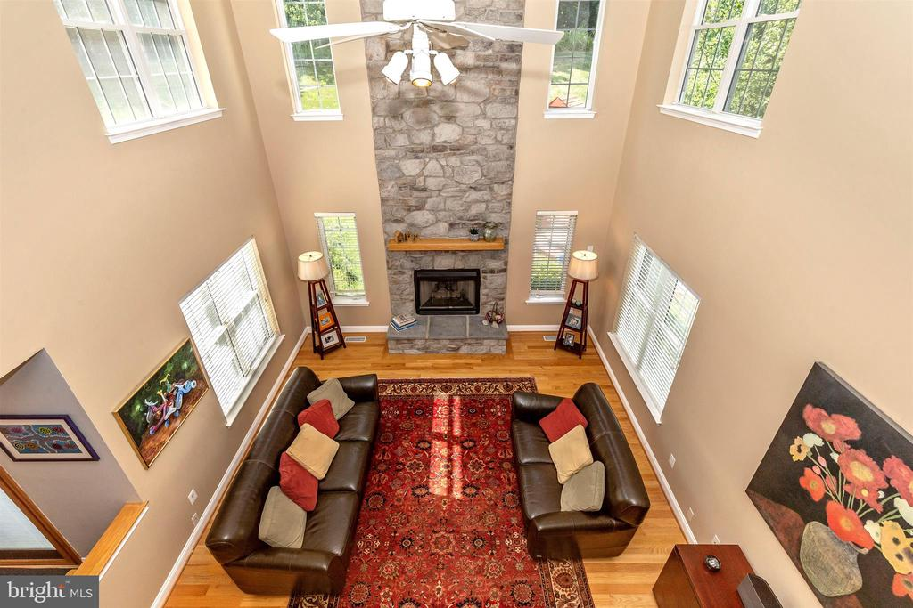 Family room -vaulted ceiling with stone fireplace - 4126 LARSON LN, MOUNT AIRY
