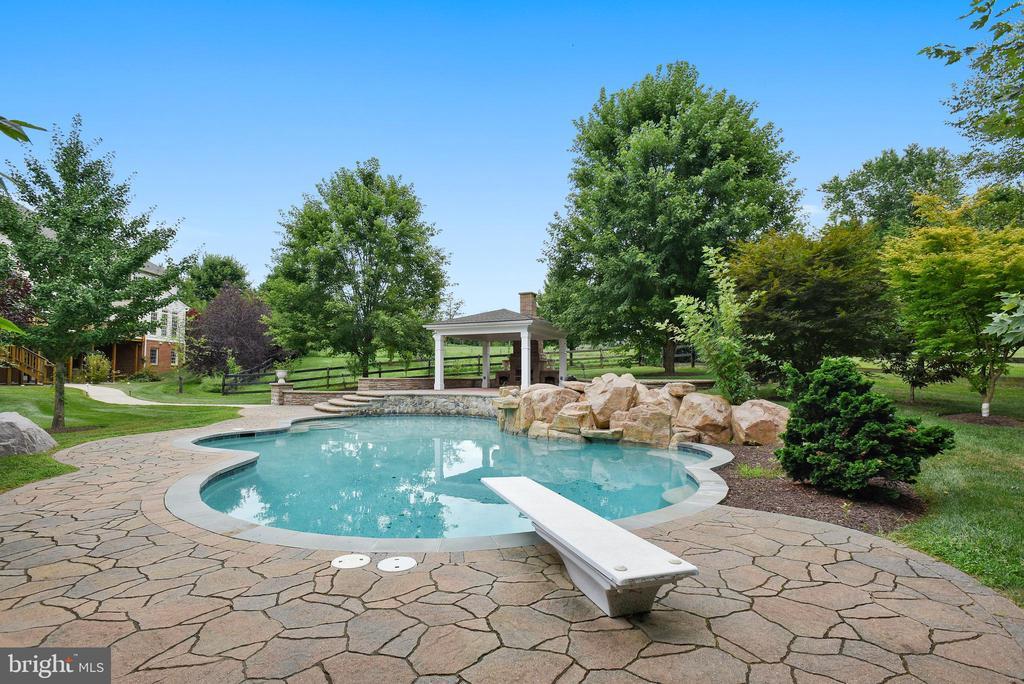 Salt Water Pool w/Waterfall & Outdoor Fireplace - 38529 BROADOAK PL, HAMILTON