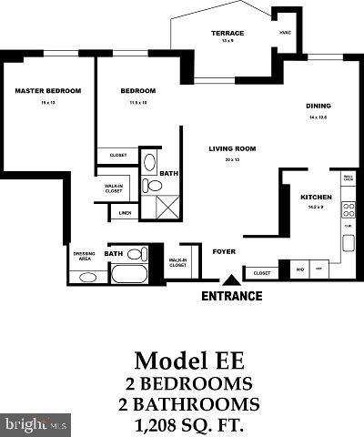 RARE Model EE flr plan/ 1208 sq ft + 13x9 Balcony - 8370 GREENSBORO DR #510, MCLEAN