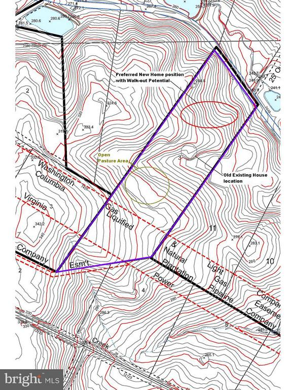 Topo Map showing potential homes site and pasture. - 7412B CLIFTON RD, CLIFTON