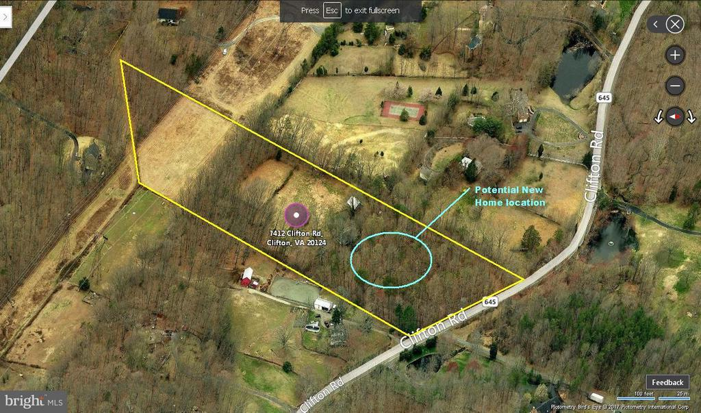 Aerial Map showing potential home site. - 7412B CLIFTON RD, CLIFTON