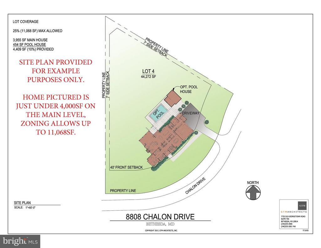Site Plan example provided by GTM Architects - 8808 CHALON DR, BETHESDA