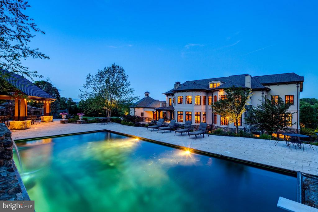 Night View of Pool and Back of House - 24016 BURNT HILL RD, CLARKSBURG