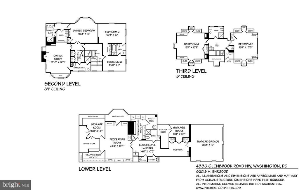 Floor plans for levels 2 & 3 and lower level - 4880 GLENBROOK RD NW, WASHINGTON
