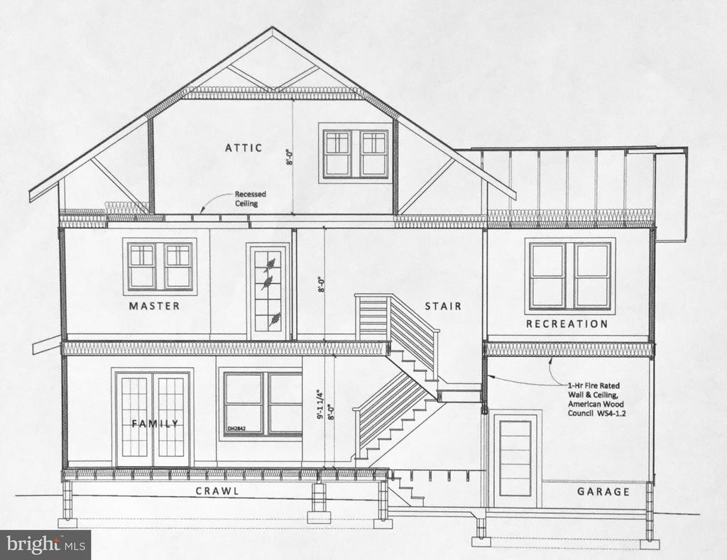 Section Through Garage Proposed Plan - 813 QUINCY ST S, ARLINGTON