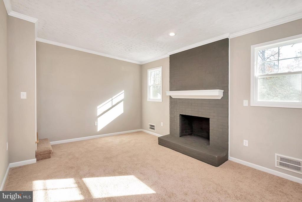 Family Room w/ Wood Burning Fireplace - 12262 PAIGE RD, WOODFORD
