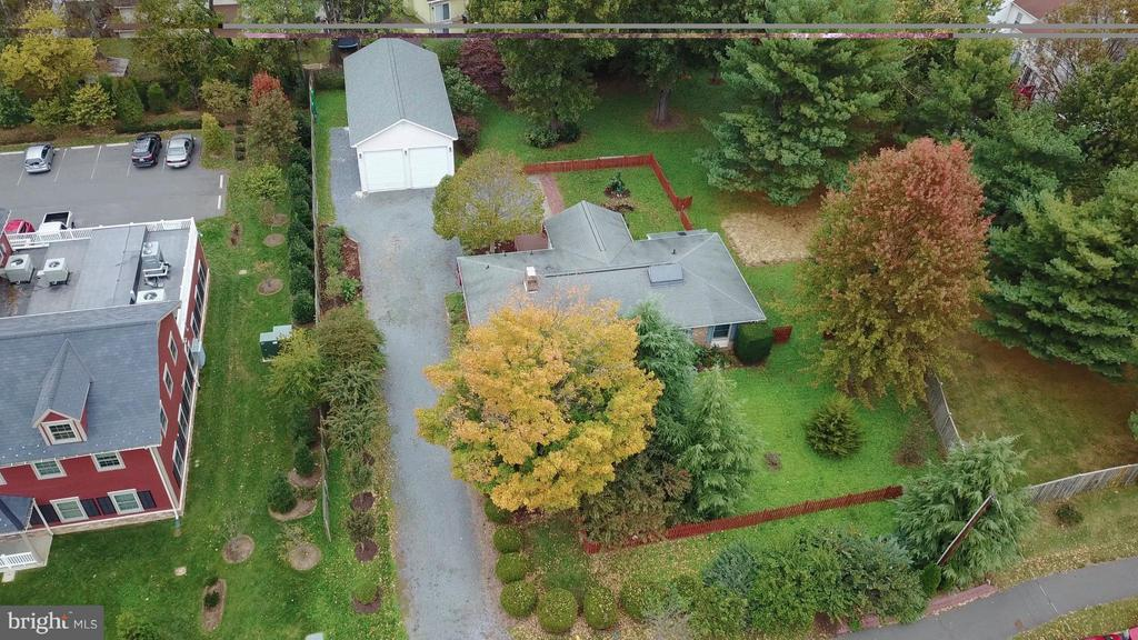 Aerial View of .6 ac w/ Large garage, parking,lot - 138 FORT EVANS RD NE, LEESBURG