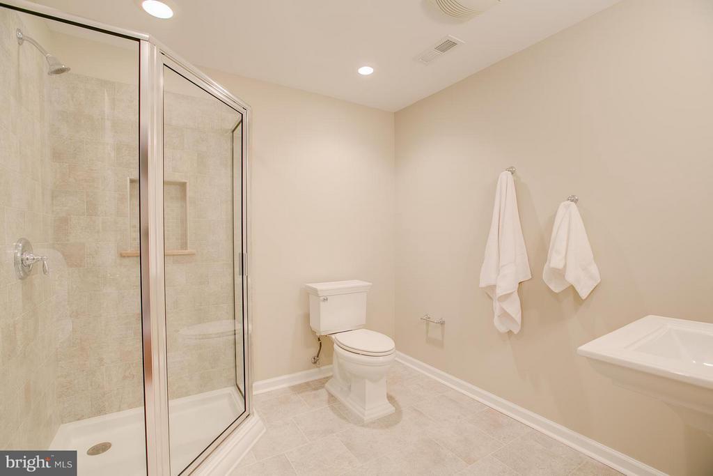 Beautifully Tiled Basement Bath w/Linen Closet - 7 NEVILLE CT, STAFFORD