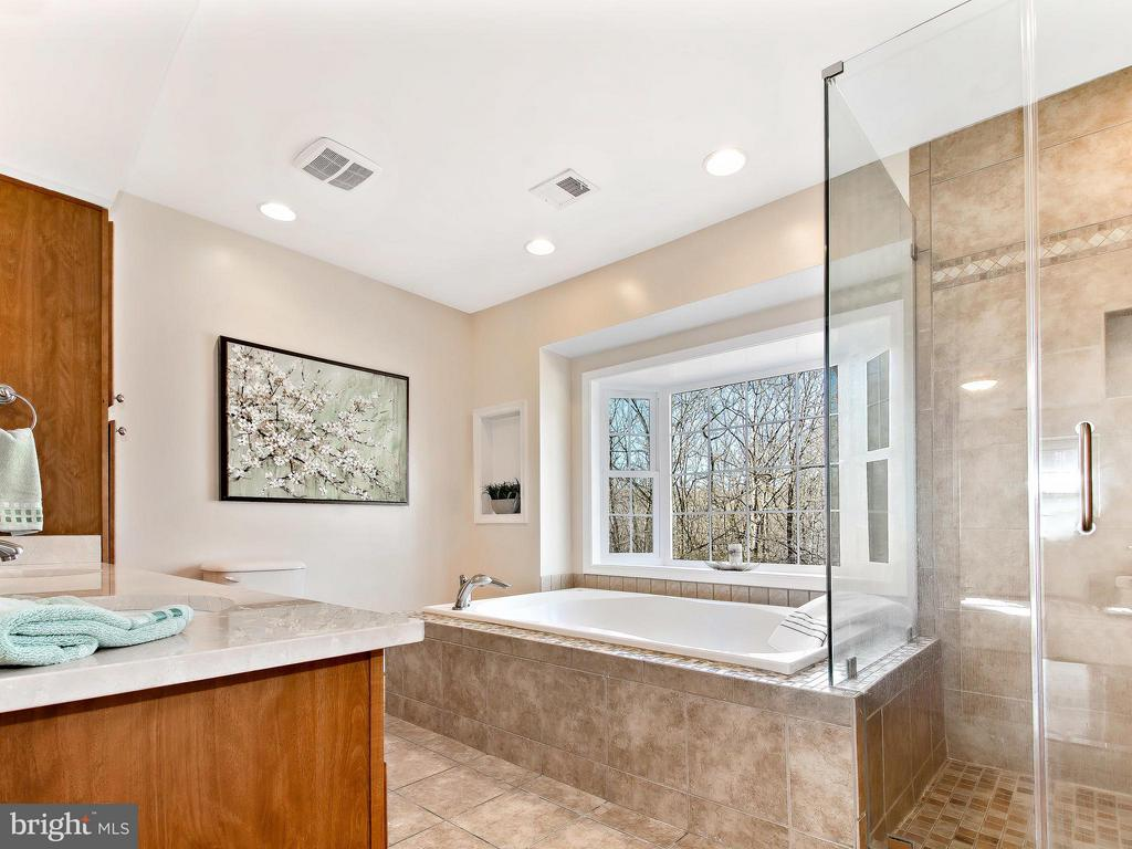 Soak in the View in the jetted tub/glass shower - 9830 QUAIL RUN CT, FAIRFAX STATION