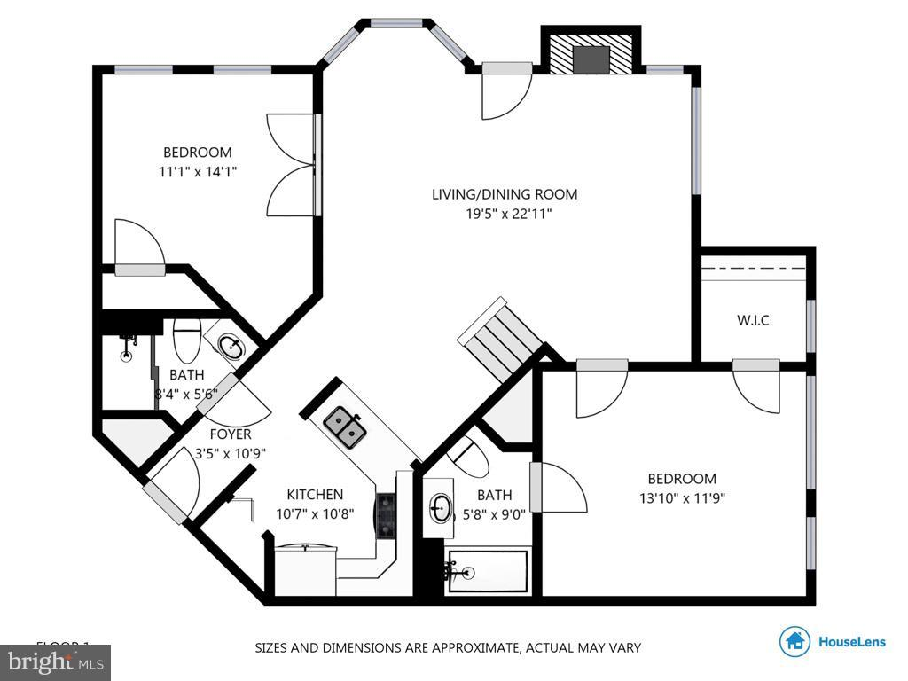 Floorplan - main level - 1321 ADAMS CT N #402, ARLINGTON