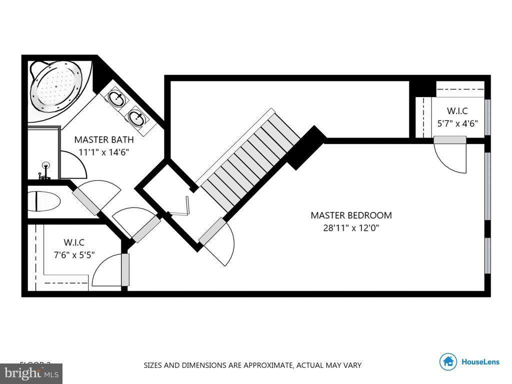 Floorplan - upstairs master suite - 1321 ADAMS CT N #402, ARLINGTON