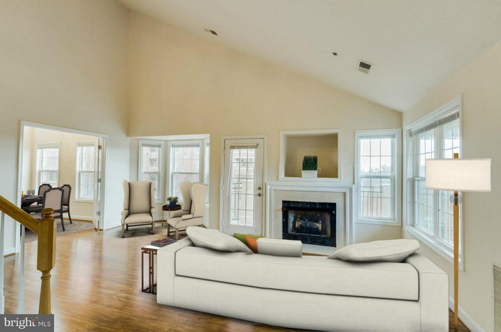 Living Room w/ cathedral ceilings and fireplace - 1321 ADAMS CT N #402, ARLINGTON