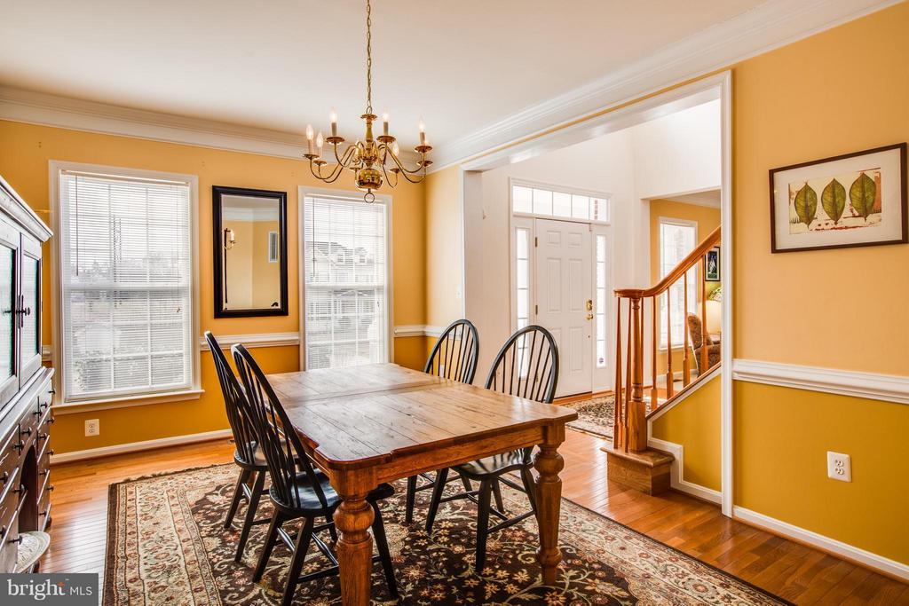 Formal dining room w/ chair rail and hardwoods - 6 GARNER DR, FREDERICKSBURG