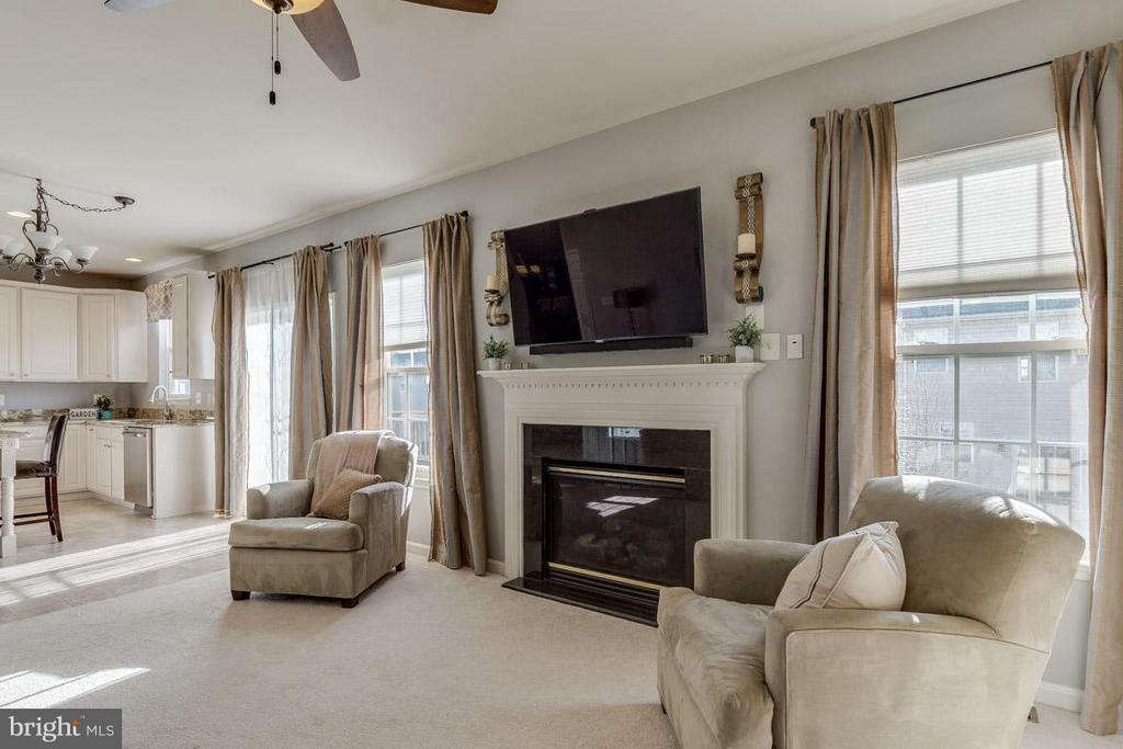 Family room has large windows and gas fireplace - 419 RUSERT DR SE, LEESBURG