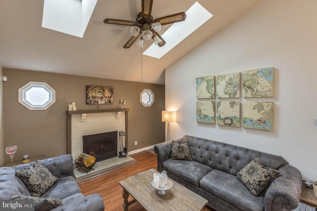 Living Room featuring 2 skylights @ wood fireplace - 21 ROSEWOOD ST, FREDERICKSBURG