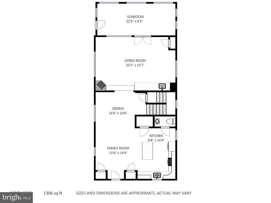 Main Level Floor Plan - 232 CLEVELAND ST N, ARLINGTON