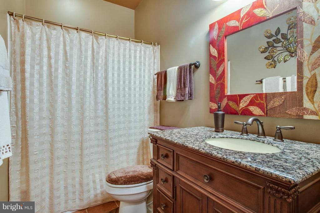 Downstairs full bath with custom cabinetry/mirror. - 12707 WILLOW POINT DR, FREDERICKSBURG
