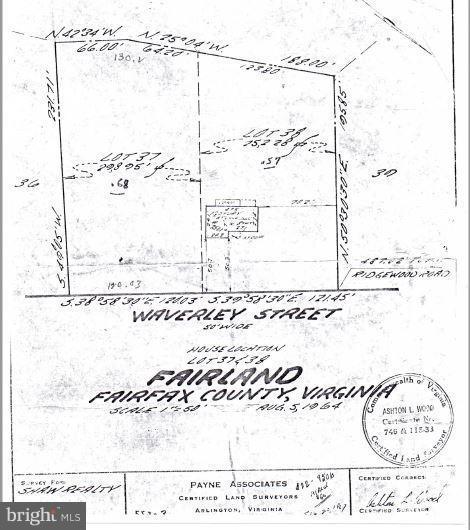 Older survey illustrates home position on lot - 6505 WAVERLEY ST, ALEXANDRIA