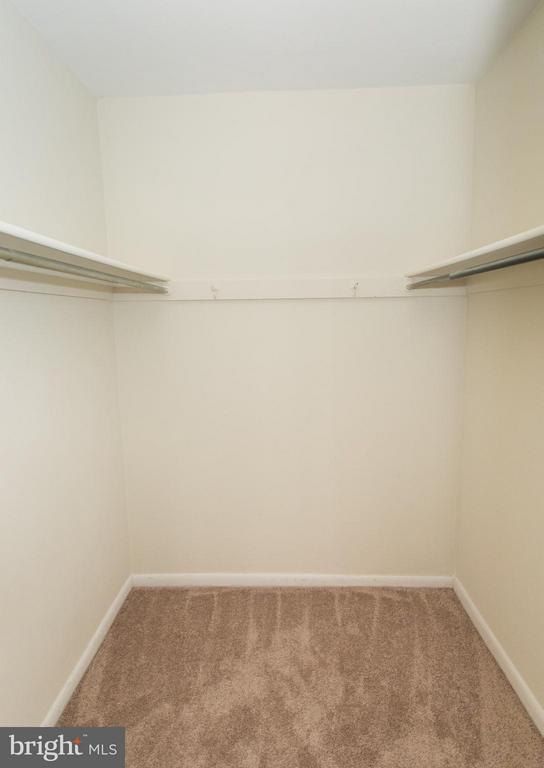 Plenty of hanging space in large master bed closet - 11252 CHESTNUT GROVE SQ #346, RESTON