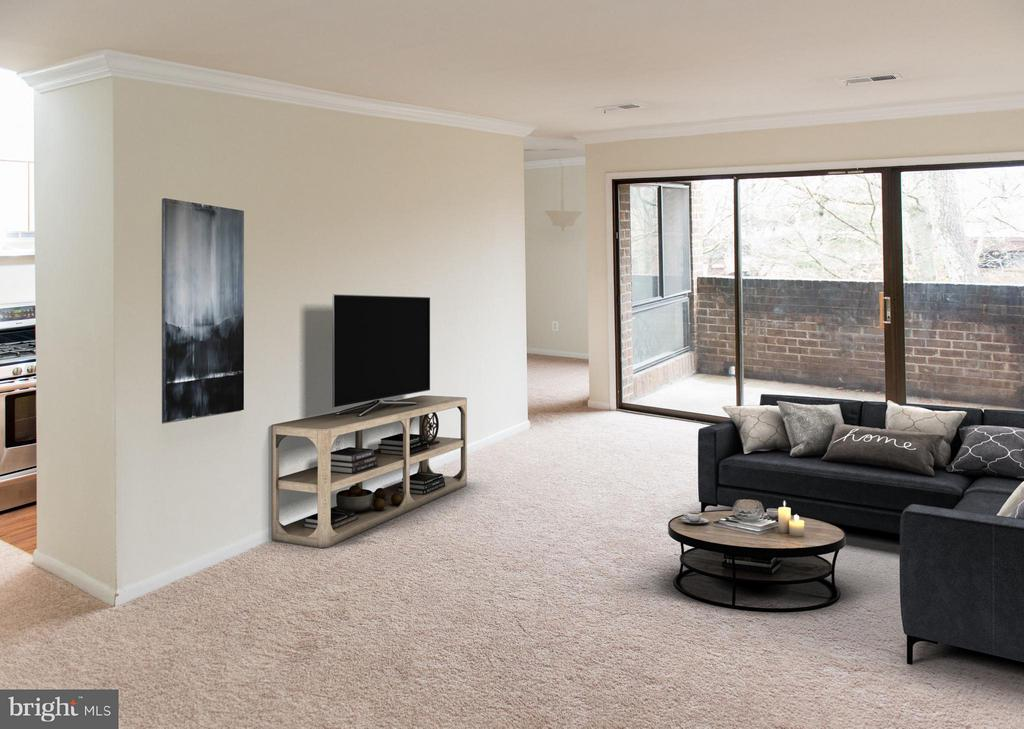 Large Living room with beautiful natural light - 11252 CHESTNUT GROVE SQ #346, RESTON