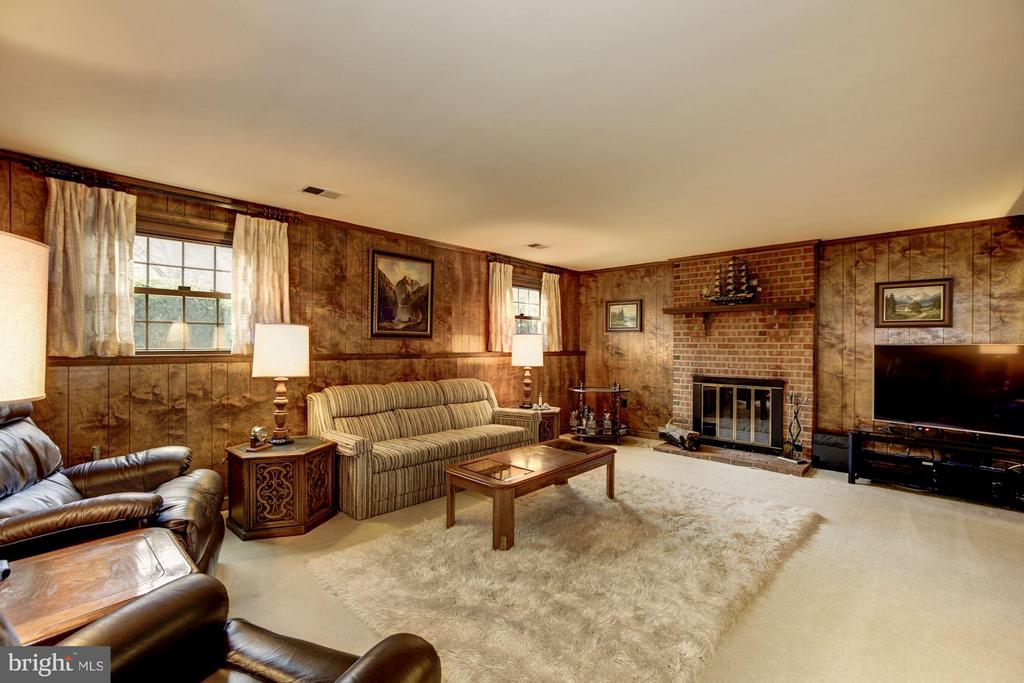 Family Room/Rec Room Space with 2nd WB Fireplace - 9324 HEATHER GLEN DR, ALEXANDRIA