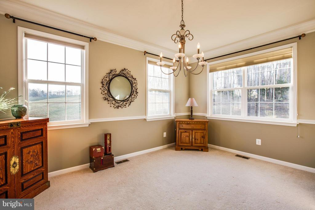 Dining room accented with crown and chair molding - 51 JANNEY LN, FREDERICKSBURG