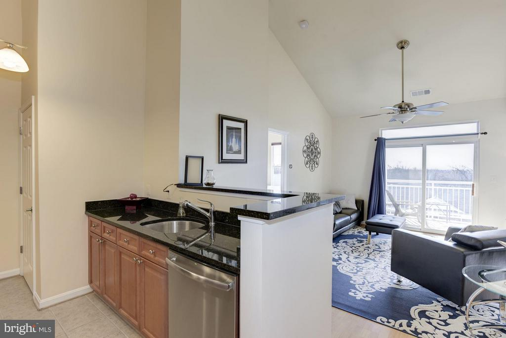 Kitchen with vaulted ceiling opens to living room - 801 GREENBRIER ST #408, ARLINGTON