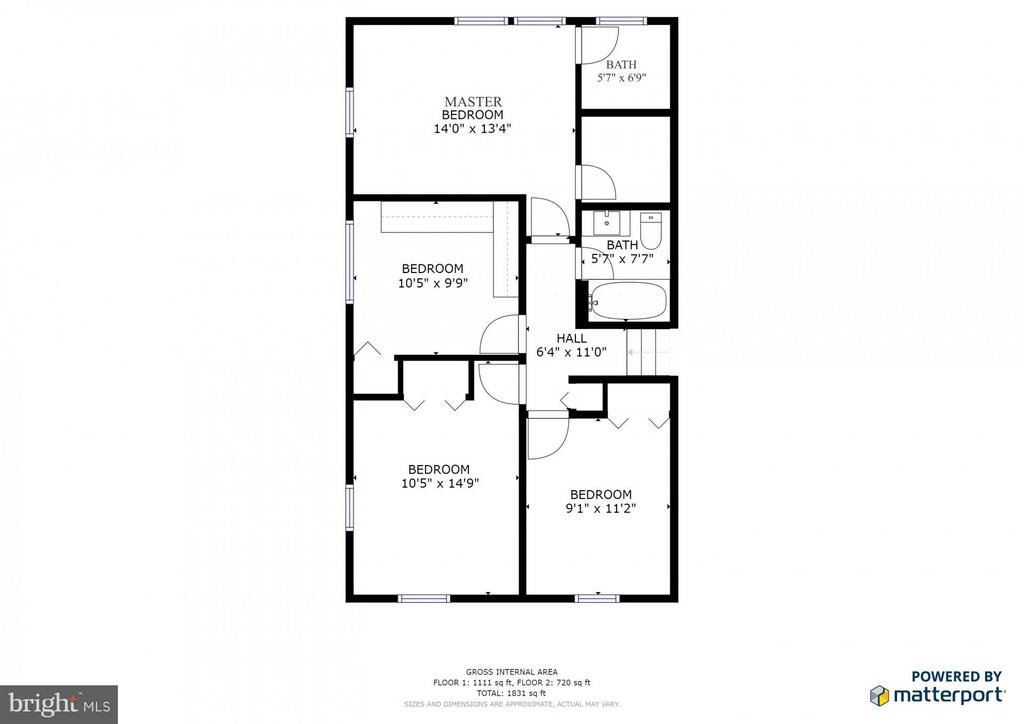 Upper level floor plan - 3205 TRAVELER ST, FAIRFAX