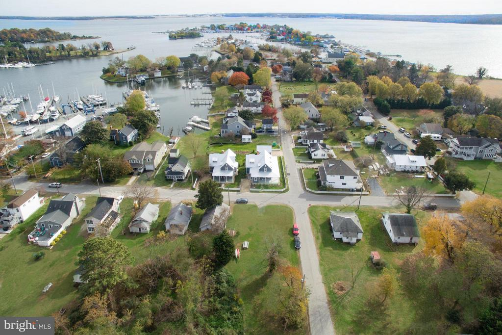 A broader view of the house with Solomons harbor - 211 C ST, SOLOMONS