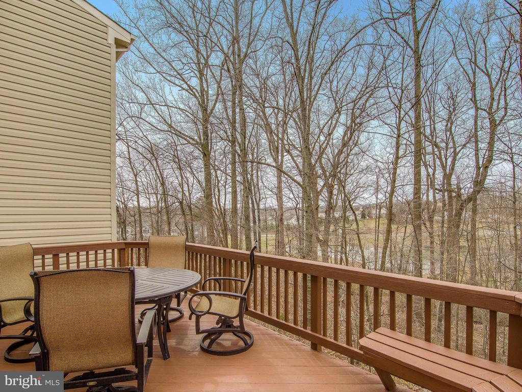 Coffee on the deck overlooking trees and pond - 5637 GOVERNORS POND CIR, ALEXANDRIA