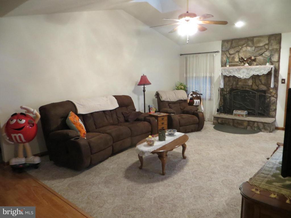 Vault Living Room-wood fireplace - 209 CREEKSIDE DR, LOCUST GROVE