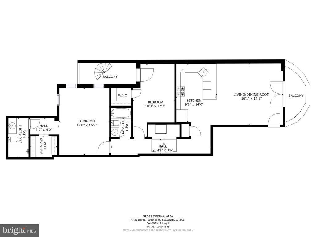Floorplan - 1050 sqft - 1303 CLIFTON ST NW #4, WASHINGTON