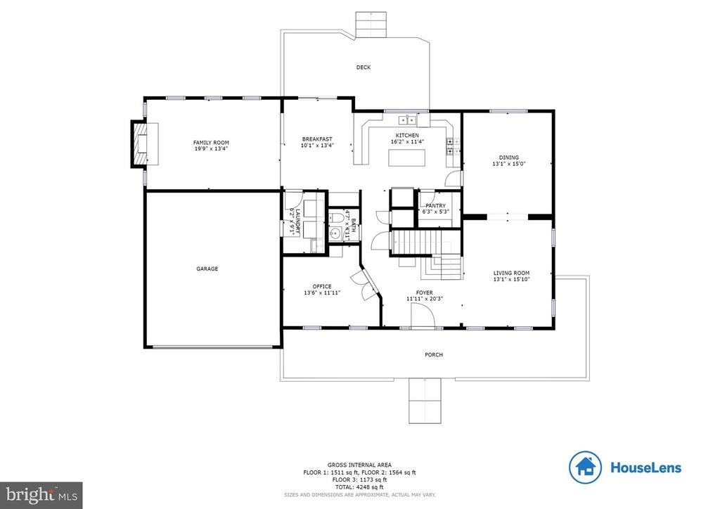 Main level floorplan - 117 ELKRIDGE WAY NE, LEESBURG
