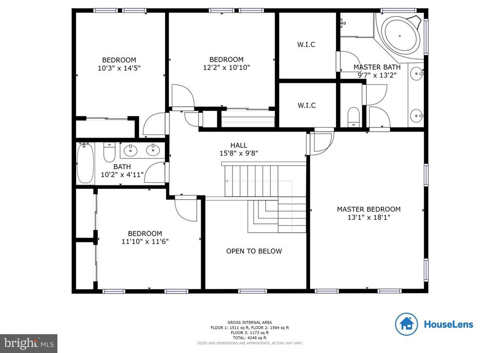 Second level floorplan - 117 ELKRIDGE WAY NE, LEESBURG