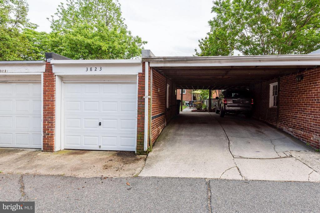 1 car GARAGE,  covered carport for 2 more cars - 3823 CALVERT ST NW, WASHINGTON