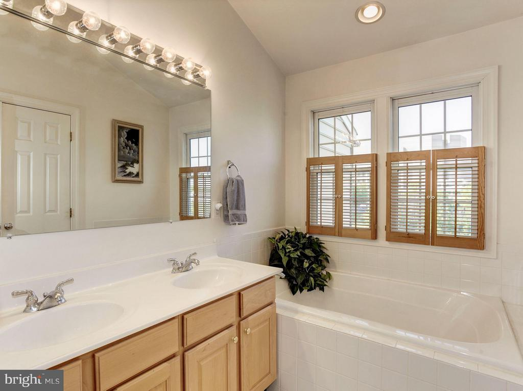 MASTER BATHROOM - SEPARATE TUB WITH LAKE VIEWS! - 4572 FAIR VALLEY DR, FAIRFAX