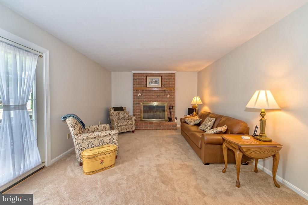Cozy gas insert fireplace with view of rear yard. - 43337 WAYSIDE CIR, ASHBURN