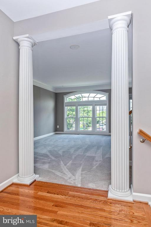 Columns at entry to Living Room w/NEW Carpet - 8937 AMELUNG ST, FREDERICK