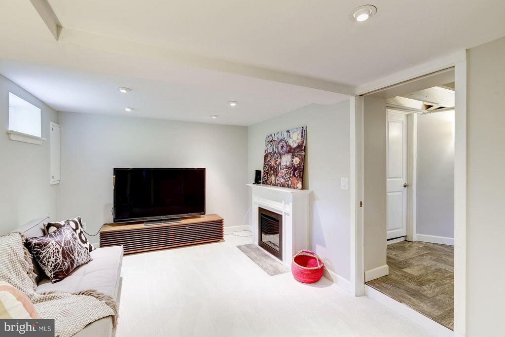 Lower level family room with fireplace - 3403 CHEVERLY AVE, CHEVERLY
