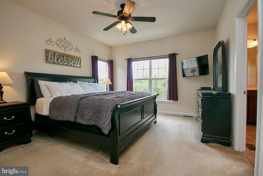 Master bedroom has a ceiling fan and walk-in close - 9052 ISABEL LN, MANASSAS PARK