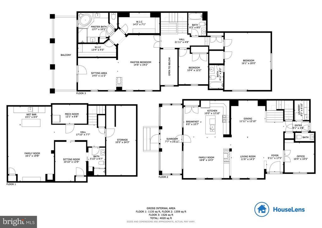 Floor Plans w/ Room Measurements & Sq Footage - 43416 WESTCHESTER SQ, LEESBURG