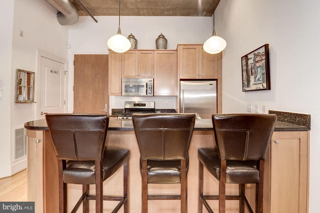 KITCHEN - BREAKFAST BAR - PENDANT LIGHTING - 2328 CHAMPLAIN ST NW #320, WASHINGTON