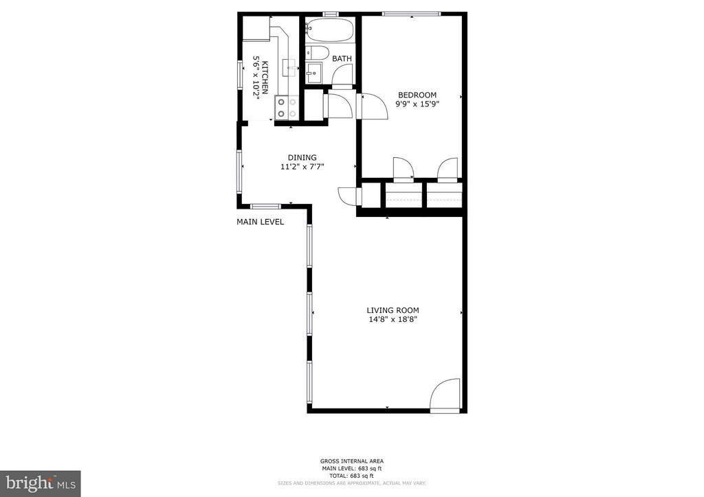 Floor plan - One of the largest 1 BRs in community - 1336 ODE ST #8, ARLINGTON