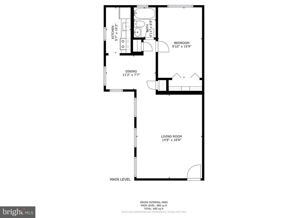Floor plan - 672 square feet - 1336 ODE ST #16, ARLINGTON