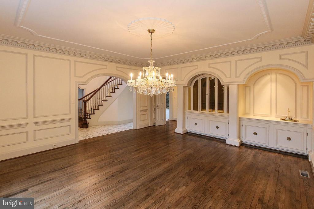 Lavish dining room with built in china hutch - 612 LIVE OAK DR, MCLEAN