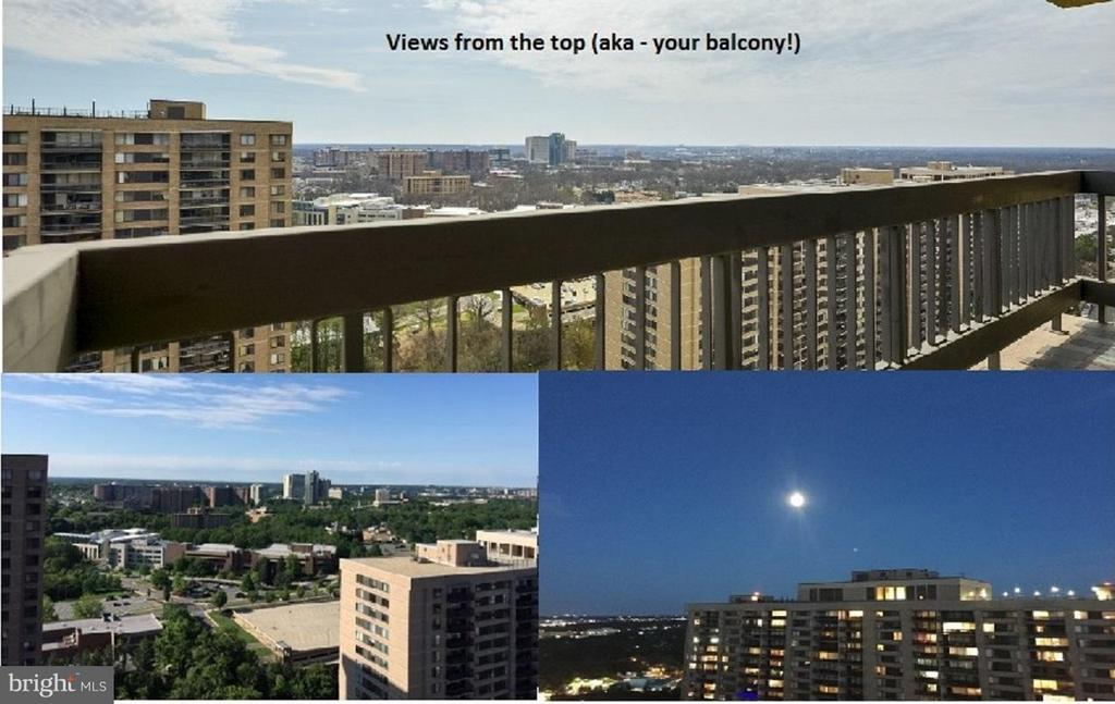 Great views on different days from your balcony. - 3701 S GEORGE MASON DR #2605N, FALLS CHURCH