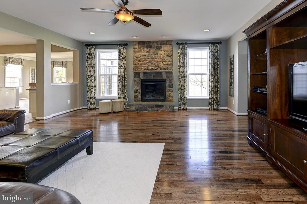 Family room with stone fireplace - 16545 LEVADE DR, LEESBURG