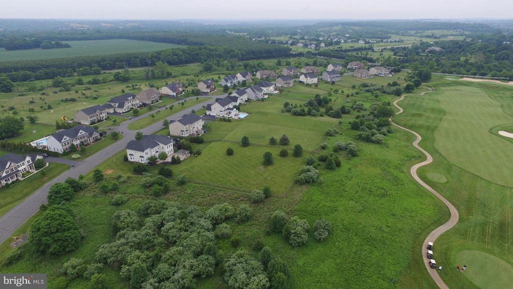 Aerial shot of backyard. - 16545 LEVADE DR, LEESBURG