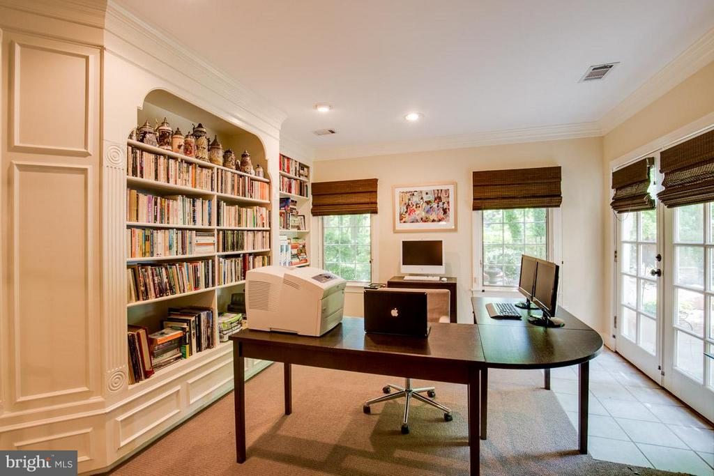 Lower Level Library w/ french doors to stone patio - 43319 BUTTERFIELD CT, ASHBURN